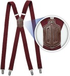Dr. Who 11th Doctor Burgundy Red Suspenders
