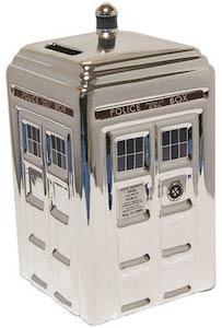 Dr. Who Ceramic Silver Tardis Money Bank