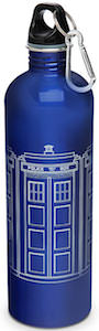 Dr. Who water bottle with picture of the Tardis