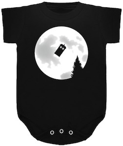 Dr. Who Tardis And The Moon Baby Bodysuit