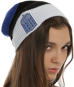 Doctor Who winter beanie hat with the Tardis on it