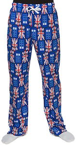 Dr. Who Tardis And Union Jack Pajama Pants
