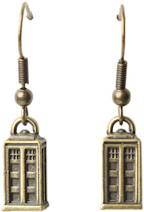 Doctor Who Tardis Burnished Gold Earrings