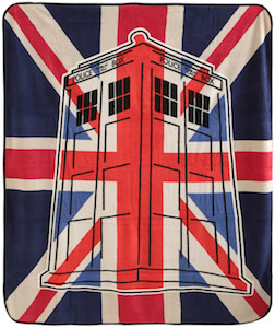 Union Jack Tardis Throw Blanket