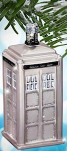 Doctor Who Silver Tardis Christmas Tree Ornament