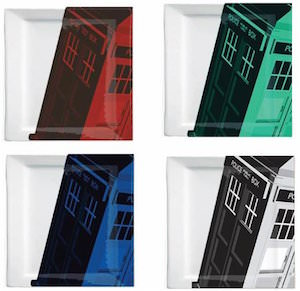 Colored Tardis Plate Set
