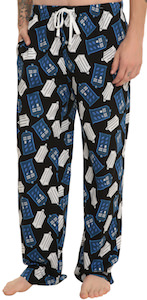 Doctor Who Pixel Tardis And Logo Pajama Pants