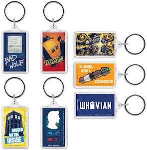 Doctor Who tardis and other keychains