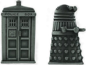 Doctor Who Dalek And Tardis Pin Set With Pewter Finish