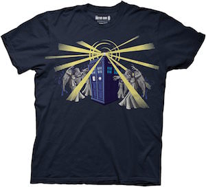 Doctor Who Tardis Attacked By Weeping Angel T-Shirt