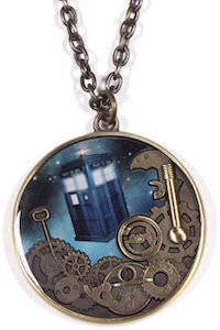 Dr. Who Tardis And Gears Pendant Necklace