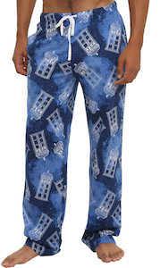Line Drawn Tardis In The Galaxy Pajama Pants