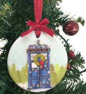 Ceramic Tardis Christmas Ornament