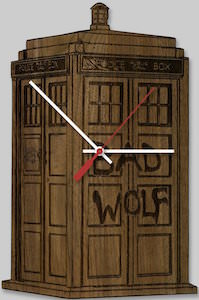 Tardis Bad Wolf Wooden Clock