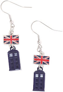 Union Jack And Tardis Earrings