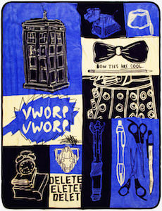 Doctor Who Patched Throw Blanket