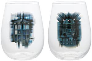 Dalek And Tardis Glass Set