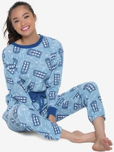 Women's Light Blue Tardis Pajama Set