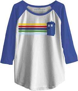 Stripes And The Tardis Raglan Top