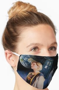Doctor Who 13th Doctor And The Tardis Face Mask