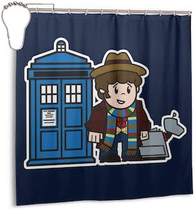4th Doctor With K-9 And THe Tardis Shower Curtain
