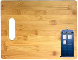 Doctor Who Blue Tardis Cutting Board