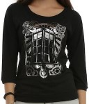 Doctor Who TARDIS Silver Foil Girls Pullover