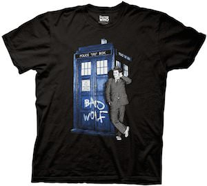 Doctor Who Bad Wolf Tardis And The 10th Doctor T-Shirt