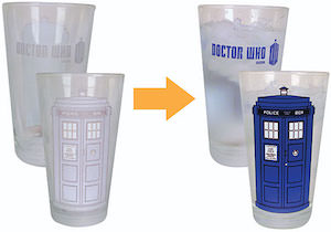 Dr. Who Disappearing Tardis Pint Glass