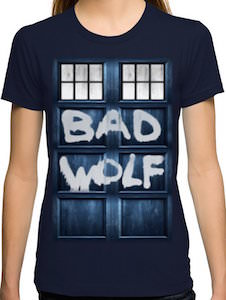 Doctor Who Tardis Spray painted Bad Wolf T-Shirt