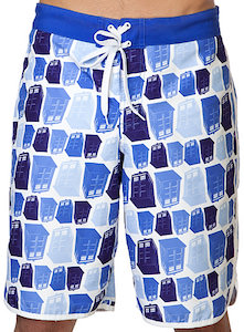 Doctor Who men's Tumbling Tardis Board Shorts