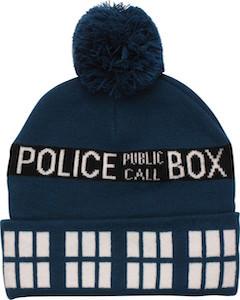 Tardis Blue Pompom Beanie Hat