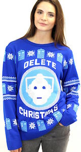 Dr Who Christmas Sweater.Doctor Who Cyberman Delete Christmas Sweater