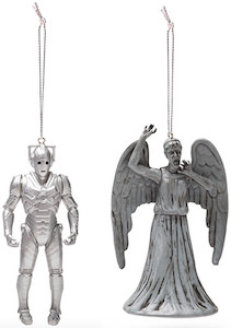 Cyberman And Weeping Angel Ornament Set