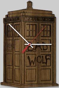 Tardis Bad Wolf Wooden Clock