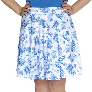 Doctor Who Toile Pattern Circle Skirt