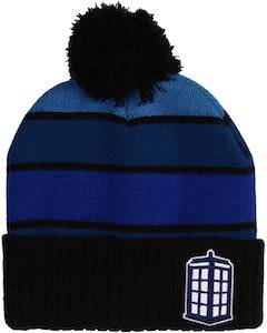 Blue Tardis Beanie Hat With Pompom