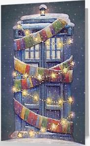 Tardis And The Scarf Christmas Card