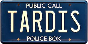 Metal Tardis License Plate
