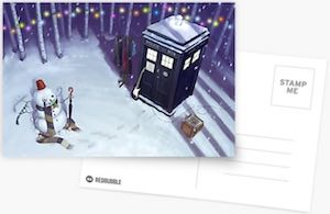 Tardis And Snowman Christmas Card