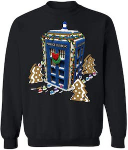 Gingerbread Tardis Christmas Sweater